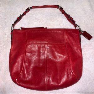 Coach Red Leather Hobo Bag Purse Handbag